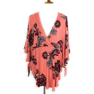 Free People Maui Wowie Palm Print Shirt L Coral